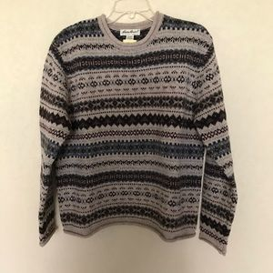 Eddie Bauer 100% Wool Sweater Multicolored Large